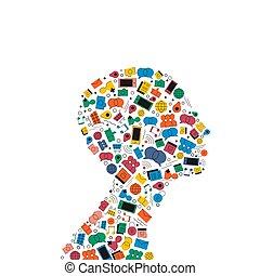 Social media head profile icon shape concept