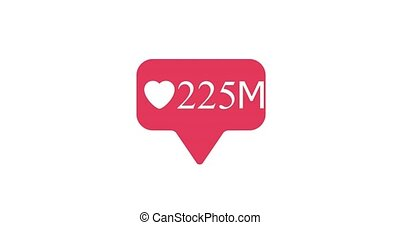 social media heart button counter going up. Alpha matte 4K for ease of use.