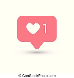 Social media heart count color on white background