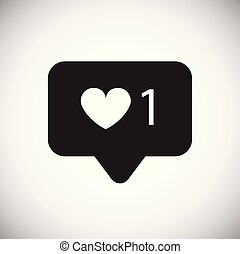Social media heart count icon on white background