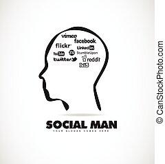 Social media human head icon