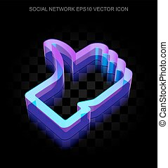 Social media icon: 3d neon glowing Thumb Up made of glass, EPS 10 vector.