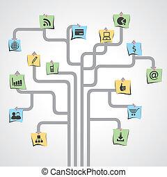 social media icon in paper note stock vector