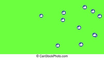 Social media icon Like live style animation at color background. Modern abstract thumb up icons motion. green screen and alpha matte. 4K,HD,SD resolution.