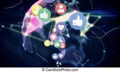Social media icons and digital globe