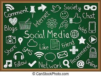 Illustration of social media icons and terms drawn on chalkboard