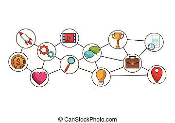 social media icons cartoon