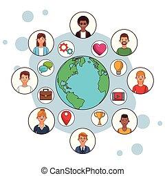 social media icons cartoon