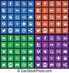 Social media icons - Vector set of 25 flat social media...