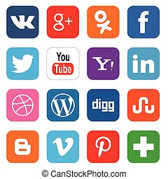 EDITORIAL USE ONLY Vector set of 16 social media icons. Vector illustration