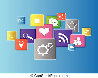 Social media icons flat vector with