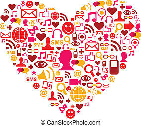 Social media icons in heart shape - Social media heart shape...