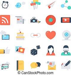 Social media icons.