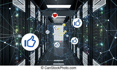 Social Media Icons Moving with Network Grid in Server Room...