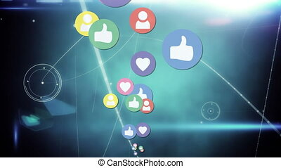 Social media icons on a gradient background