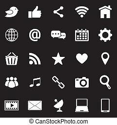 Social media icons on black background