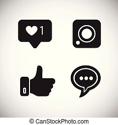 Social media icons on white background