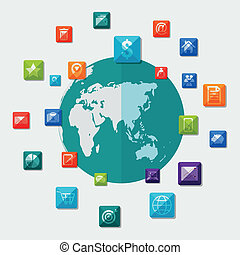Social media icons on world globe