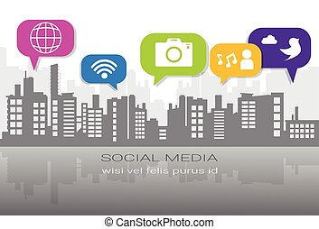Social Media Icons Over Silhouette City Background Network Communication Connection Concept