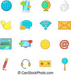 Social media icons set, cartoon style