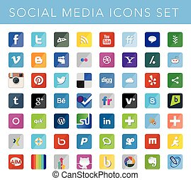 Social Media Icons Set - EDITORIAL USE ONLY This a set of...