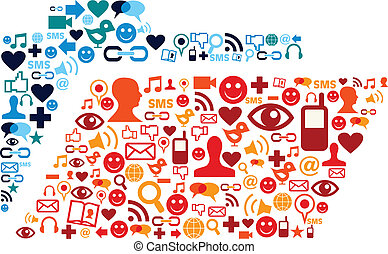 Social media icons set folder composition