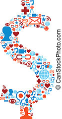 Social media icons set in dollar symbol