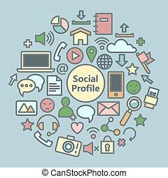 Social Media Icons Set. Network Symbols. Vector illustration