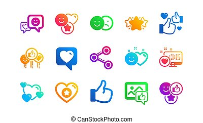 Social media icons. Share network, Like thumbs up and Rating. Classic icon set. Vector