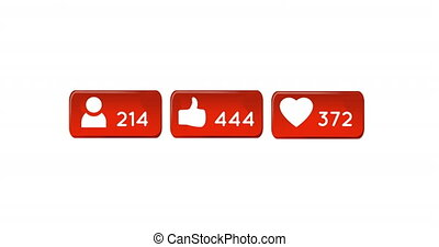 Animation of orange boxes with social media icons and numbers on a white background. All the numbers are counting up 4k