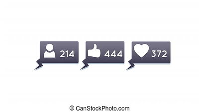 Digital animation of follower, like and heart icons and numbers increasing inside grey chat boxes on a white background 4k