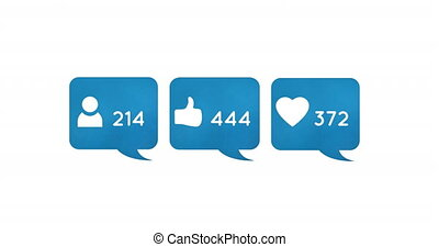 Digital animation of follower, like and heart icons and increasing numbers inside blue chat boxes on a white background 4k