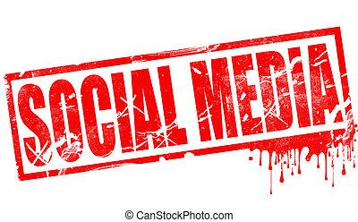 Social media in red ink stamp