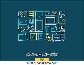 Social media integrated thin line symbols. Modern linear style vector concept, with connected flat design icons. Illustration for digital network, internet, communicate, technology, global concepts.
