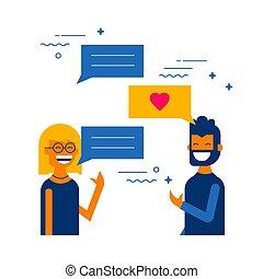 Social media internet chat boy and girl talking