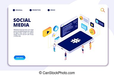 Social media isometric concept. People follow share content with phones, online dating. Cellphone addiction vector landing page