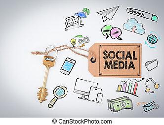 Social Media. Key on a white background