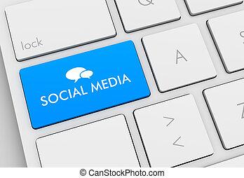 social media keyboard concept 3d illustration