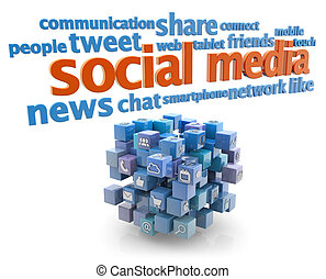 social media keywords and blue cube on white background
