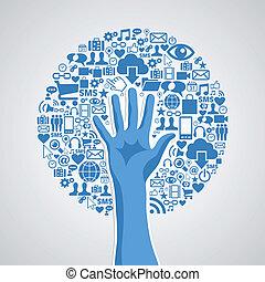 social, media, knyter kontakt, hand, begrepp, träd