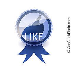 Social media label. Like concept.
