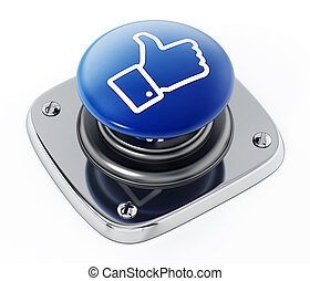 Social media like icon button isolated on white background. 3D illustration