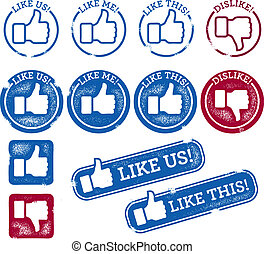 Social Media Like Stamps - A collection of thumbs up social...