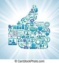 Social Media Like Thumbs Up Blue - Vector Illustration of ...