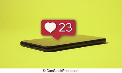 Social media likes counter on smartphone