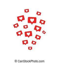 Social media likes icons on white background
