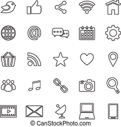 Social media line icons on white background