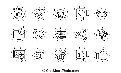 Social media line icons. Share network, Like thumbs up and Rating. Linear icon set. Vector