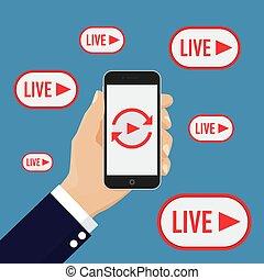 Social media live streaming concept. Vector illustration