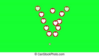 Social media Live style animated heart on green screen and alpha matte. 4K,HD,SD resolution.